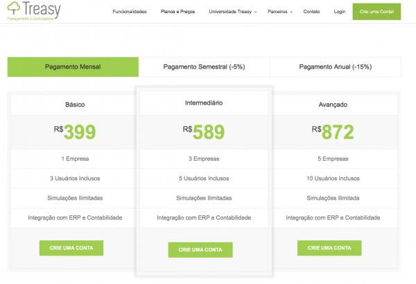 exemplo página de preços cro
